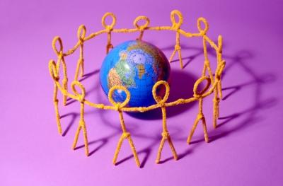 Figures surrounding the earth