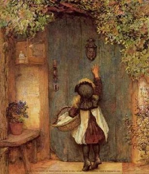 girl knocking on door